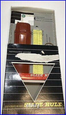 1960's Slide Rule PICKETT SYNCHRO SCALE MODEL N600-ES Leather CASE NEW IN BOX