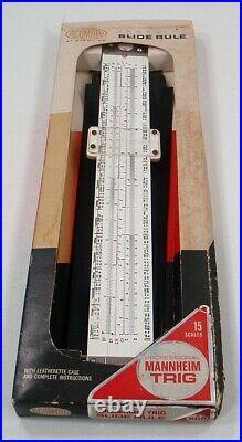 Acumath Engraved Slide Rule Mannheim Trig #900 In Box Unused