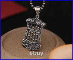 B25 Pendant Abacus Slide Rule Asian Lucky Symbol Sterling Silver 925