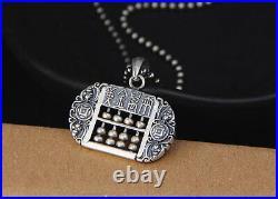 B25 Pendant Abacus Slide Rule Asiatic Congratulations Fine Silver 999