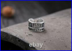 B25 Ring Abacus Slide Rule Mathematics Asian Fine Silver 990 Adjustable