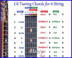C6 Chord & Slide Rule Charts For 6 Six String Lap Steel Guitar 2 Laminations