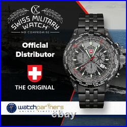 CX Swiss Military Hurricane Worldtimer Watch Timezone & Sliderule Bezel Black