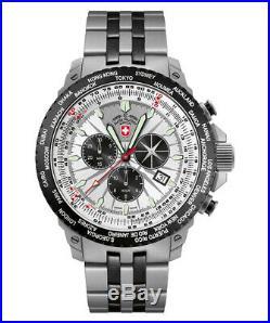 CX Swiss Military Hurricane Worldtimer Watch Timezone & Sliderule Bezel Silver