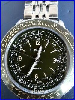 Chronofixe Flight 1952 Slide Rule Bezel Green Automatic Stainless Steel CFX-010
