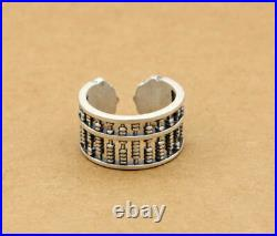 D07 Ring Abacus Slide Rule Mathematics Asian Fine Silver 990 Adjustable
