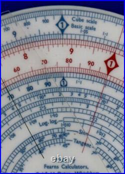 Fearns Circular Slide Rule, with sophisticated spiral log-log scale. Nearly New