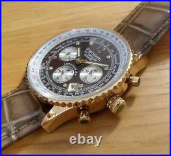 Mens Brown Leather Krug-Baumen Air Traveller Pilots Gold Chrono Watch 400213DS