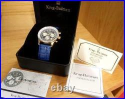 Mens Classic Krug-Baumen Air Traveller 400207DS Blue Leather Pilot Aviator Watch
