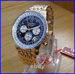 Mens Gold Krug-Baumen Air Traveller Pilots Diamond ct Blue Chrono Watch 400104DS