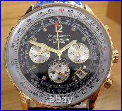 Mens Krug Baumen Air Traveller Blue Leather Genuine Diamond Pilot Aviator Watch