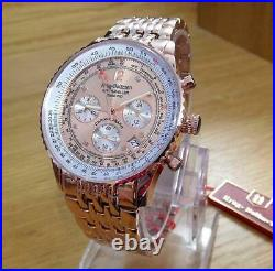 Mens Rose-Gold & Copper Krug-Baumen Air Traveller Pilots Chrono Watch 400603DS