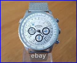 Mens Silver Milanese Rotary Exclusive Slide Rule Pilot Stye Chrono Aviator Watch