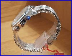 Mens Steel Bracelet Krug-Baumen Explorer Diamond ct World Time Pilots Watch 400