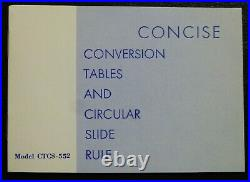 NEW Concise Conversion Tables and Circular Slide Rule TAKEDA Model CTCS 552