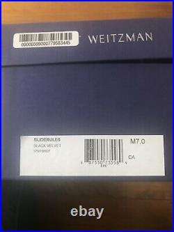 NIB STUART WEITZMAN Size 7 Black Velvet Slide Flats Open Toe