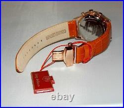 New Krug-Baümen 600701DS Air Traveller White Rose 8 Diamond Analog leather Watch