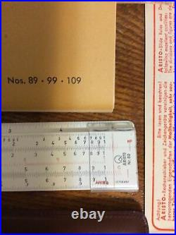 New Rare Vtg Aristo Nr. 89 Rietz Slide Rule Germany Date Code G5324 1953 withCase