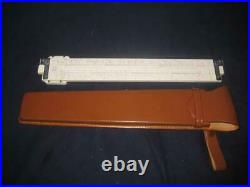New Sans & Streiff Bamboo Slide Rule In Leather Case 312 Drafting Ruler High End