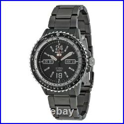 New Seiko 5 Mens Flight Slide Rule Automatic Watch Black Ion Plated Steel SRP355