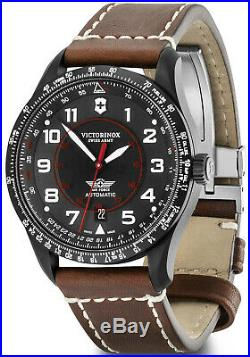 New Victorinox AirBoss Mechanical Black Dial Leather Band Men's Watch 241886