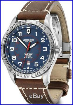New Victorinox AirBoss Mechanical Blue Dial Leather Band Men's Watch 241887