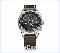 New Victorinox AirBoss Mechanical Chrono Gray Dial Leather Band Men Watch 241597