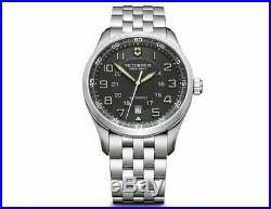 New Victorinox AirBoss Mechanical Stainless Steel Black Dial Men's Watch 241508