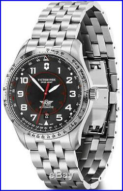 New Victorinox AirBoss Mechanical Stainless Steel Black Dial Men's Watch 241888