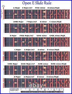Open E Slide Rule Chart 6 String Lap Pedal Steel Dobro Slide Guitar