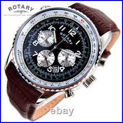 Rotary. Chronospeed. Chronograph quartz brown Leather Strap Watch. NEW