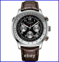 Rotary GB03351 Chronospeed Chronograph Brown Leather Strap Wristwatch for Men