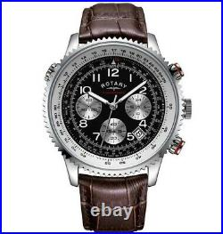 Rotary Men's Black Dial Chronograph Brown Leather Watch Gents GS03351/19
