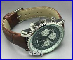 Rotary Mens Chronograph brown leather strap watch. NEW in box