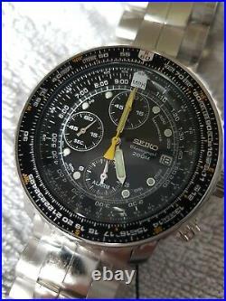 Seiko Flightmaster SNA411P1 7T62-0EB0 PILOT SLIDE RULE CHRONO/ALARM 200m -BNIB